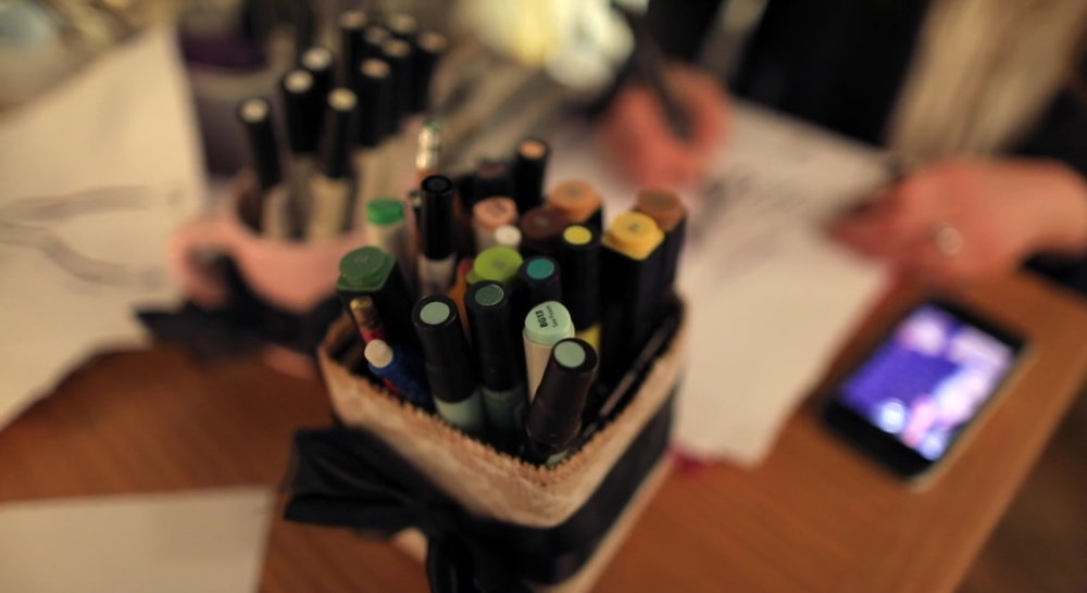 My army of markers; Live sketching at a BeInspiredPR event Photo Credit:  Juicebox Media
