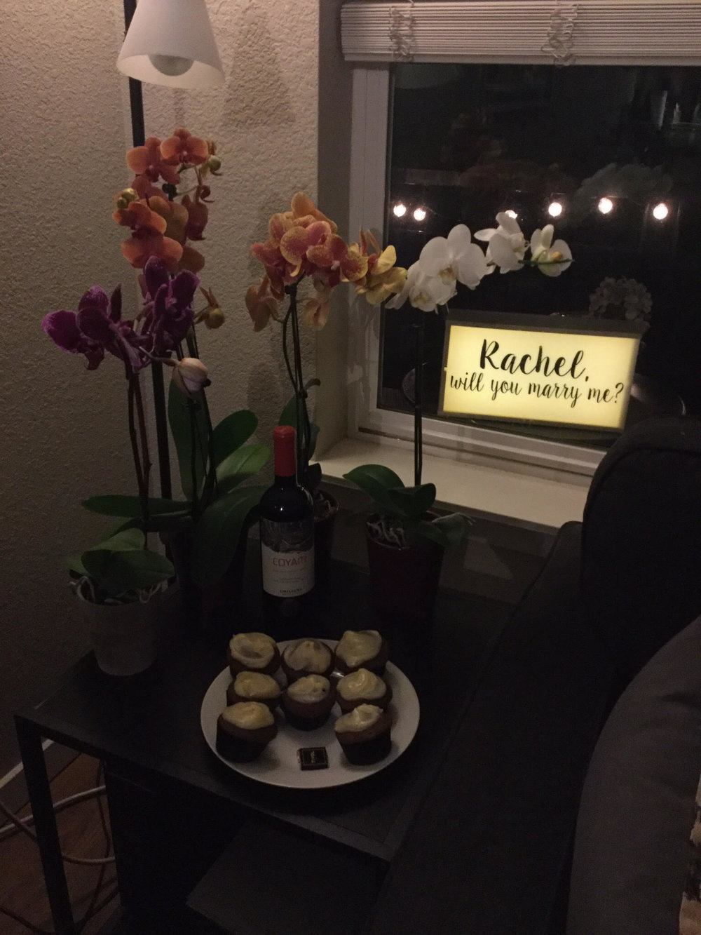 Not only had Jonas ran home to decorate, but he also whipped up homemade red velvet cupcakes while I was at the nail salon and salt caves. He kept his work clothes and badge on because he knows I am crazy attentive to details and would have noticed. He's too good.