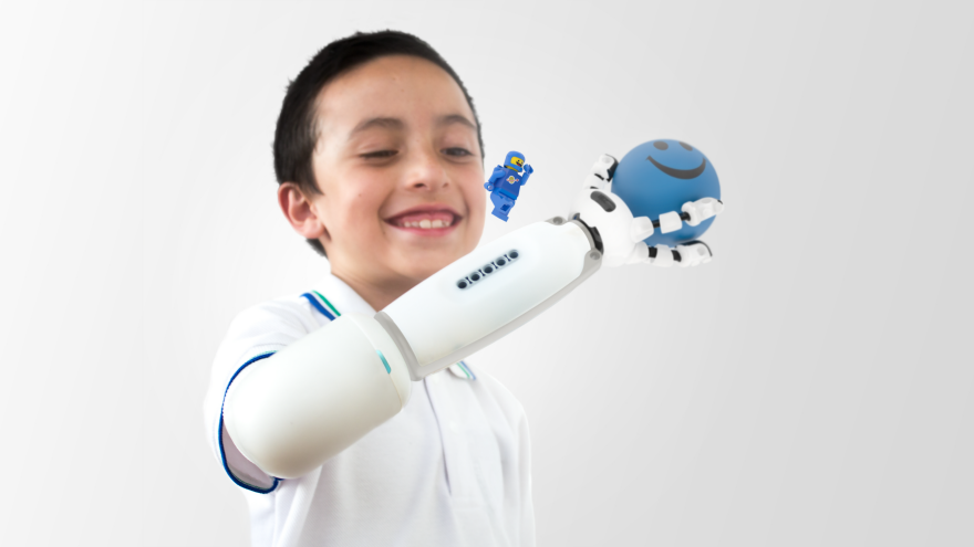 Boy Interacting with Prosthetic Arm