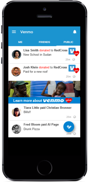 Venmo Give Newsfeed Wireframe