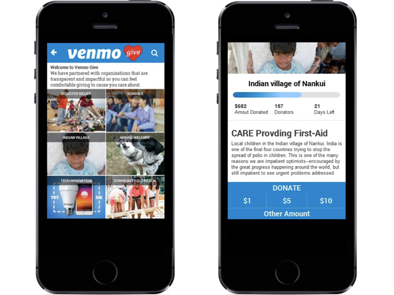 Venmo Give Donation Process Wireframes