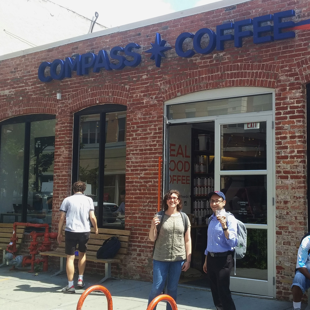 The Team Conducting Interviews at Compass Coffee