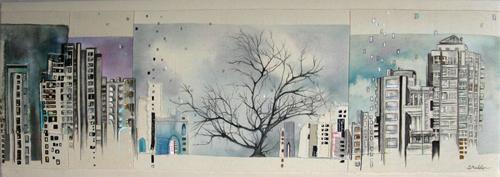 "Cityscape 6 / 13.5"" x 37"" / Sewn & Mixed Media on Canvas / SOLD Ottawa Timeraiser 2010"