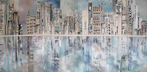 """Cityscape Reflections 3 / 19"""" x 39"""" / Sewn & Mixed Media on Canvas / SOLD"""