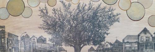 "East / 12"" x 36"" / Mixed Media on Wood Panel / SOLD Regina Timeraiser 2014"