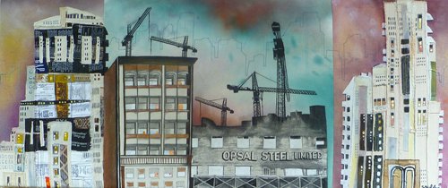 """Opsal Steel / 14.5"""" x 34"""" / Sewn & Mixed Media on Canvas / SOLD"""