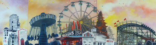 """Playland / 11.5"""" x 38.5"""" / Sewn & Mixed Media on Canvas / SOLD"""