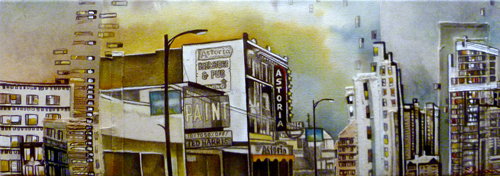 """The Astoria / 9"""" x 25"""" / Sewn & Mixed Media on Canvas / SOLD"""