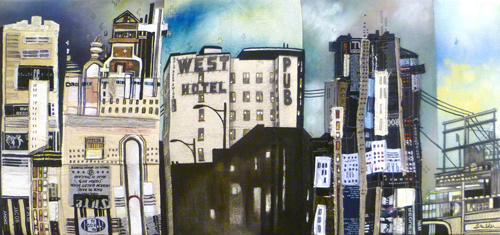 """West Hotel / 12.5"""" x 26.5"""" / Sewn & Mixed Media on Canvas / Available $1,300- SOLD"""