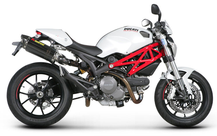 Ducati Monster with Akrapovic Slip-On Mufflers and a fuel management system from Bazzaz. The package includes parts and labor.