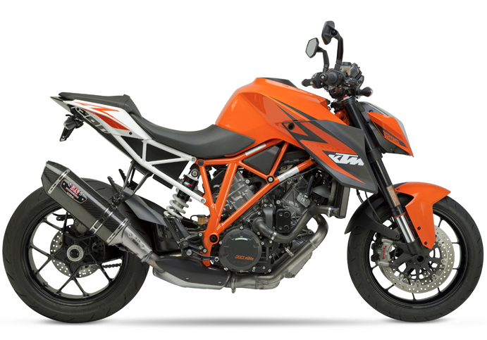 KTM exhaust system performance packages include Yoshimura Slip-On Mufflers and a fuel management system from Bazzaz.