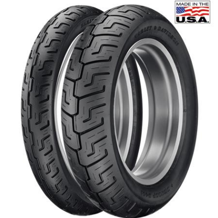 Dunlop D401 Motorcycle Tires for Harley Davidson. Headkace Motorcycle Shop offers free installation with purchase at current retail price.
