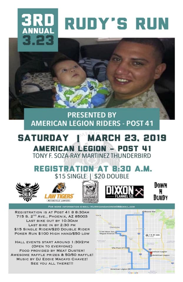 American Legion Post 41 presents the 3rd Annual Rudys Run a charity event and Motorcycle Ride March 23rd at 830am.
