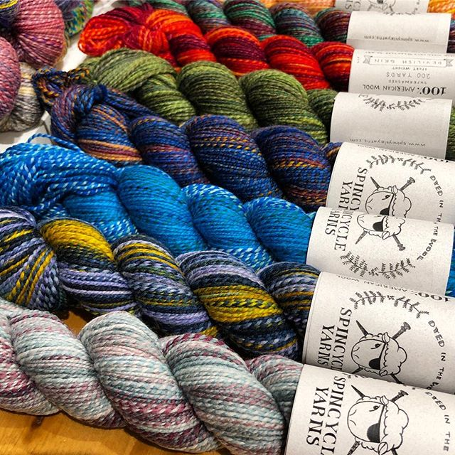 Fresh shipment of #spincycleyarns just landed! We've got #dreamstate and #dyedinthewool in SO many colors! 🌈 #shiftysweater #nightshiftcowl #theshiftcowl