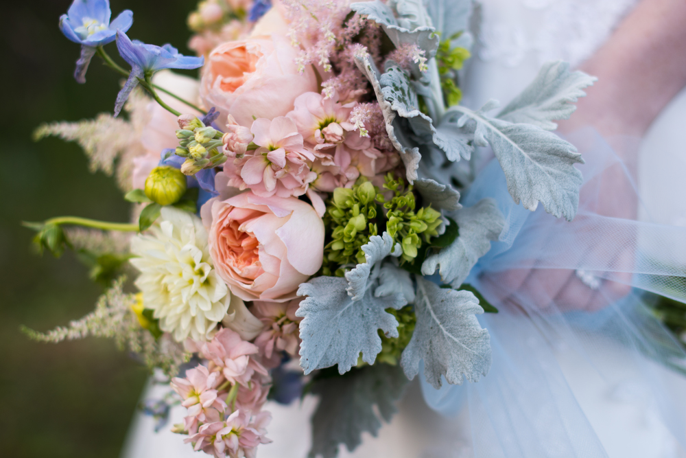 Rachel had a lot of fun with Grace's bouquet: soft peaches and pinks with a splash of powder blue, collared with grey dusty miller. And of course Grace's natural beauty set them off nicely.