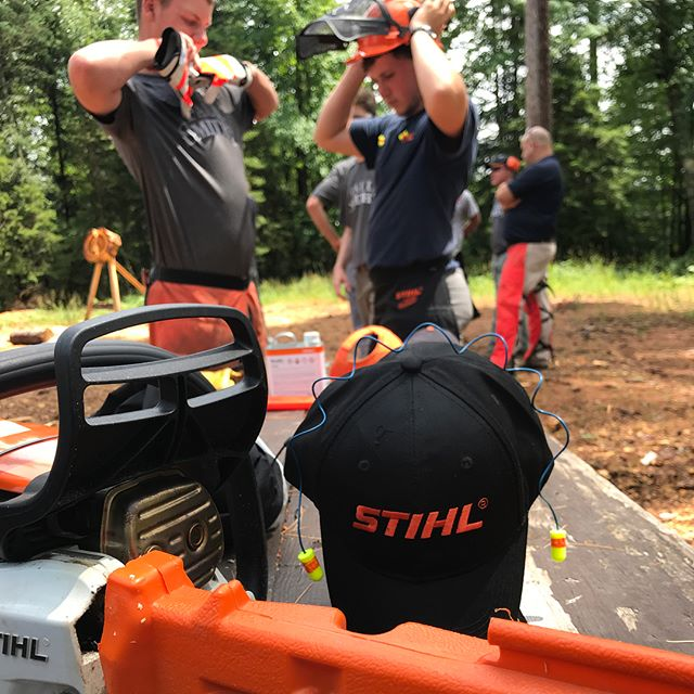 Day 3. No better way to pick up a chainsaw than with @stihl by your side. Thanks for tearing up a pair of chaps in the name of safety! #projectwoodchips #stihltimbersports #stihl #getoutside