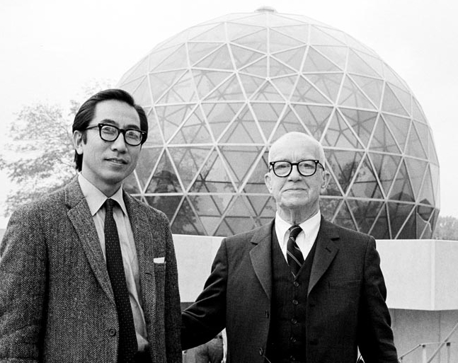 Shoji Sadao and Buckminster Fuller in front of the Center's dome in 1971