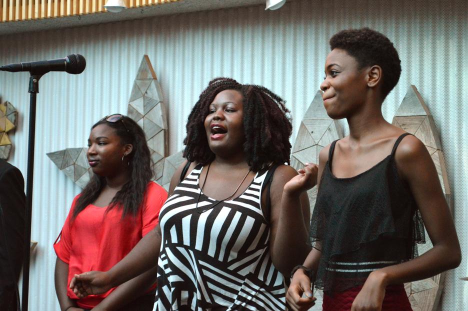 The SIUE Gospel Choir raising their voices
