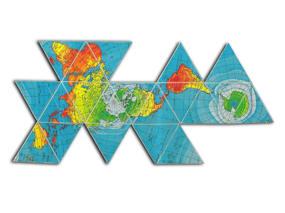 Buckminster Fuller's Dymaxion Map as it was redrawn with his architectural partner Shoji Sadao