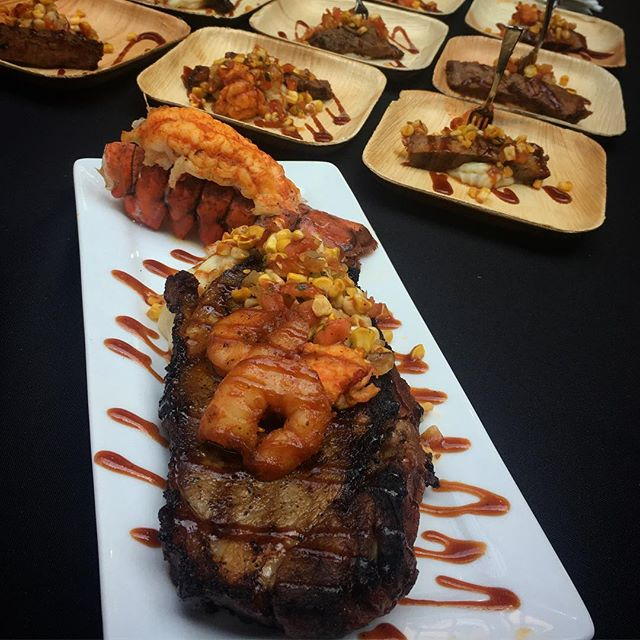 #culinaryfightfest2018 #thefinalplate finalist Kris Shoenberger of @bbqdproductions with Smoked Surf &Turf!  What a delicious bite ok maybe 4 bites!  #bbq #culinary #plateup #beef #lobster #shrimp #delicious #bite #tasterschoice
