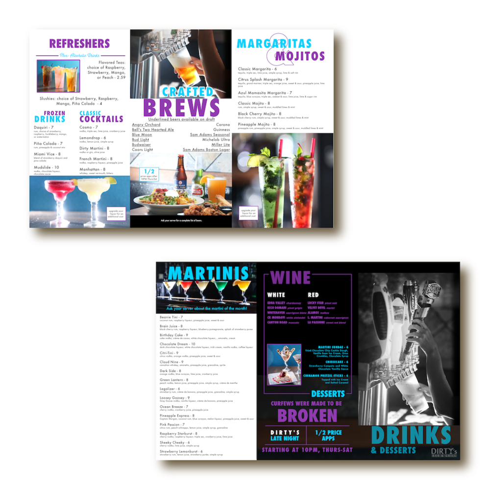 Restaurant and bar menu graphic design by Hagan Design Co Champaign Illinois