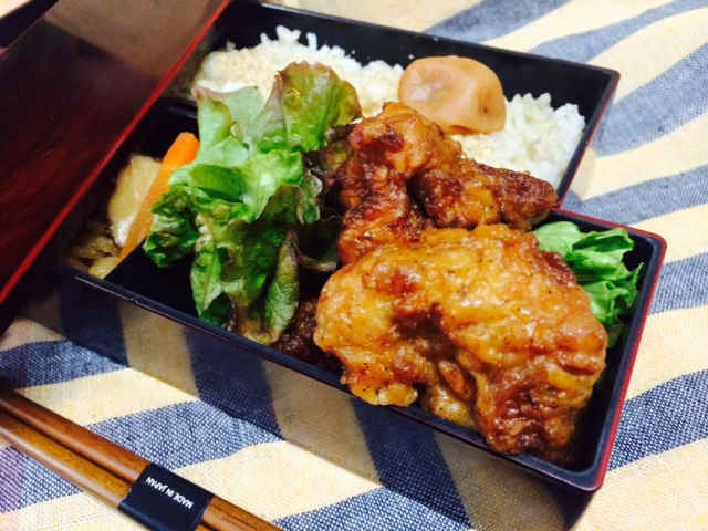 Karaage bento served in Slim Bento Box.