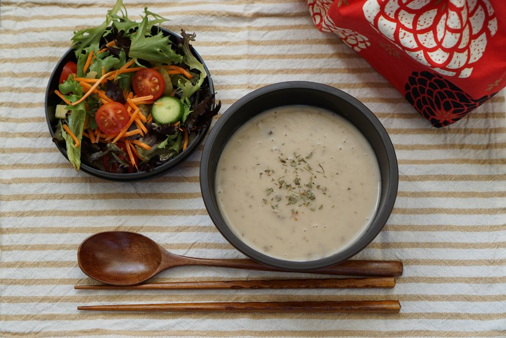 Mushroom soup and garden salad