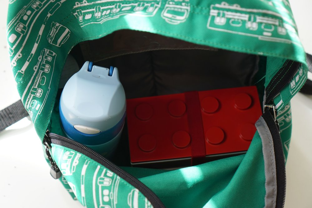 I put lunch box and water bottle in my son's backpack.  Its a great size for his backpack.
