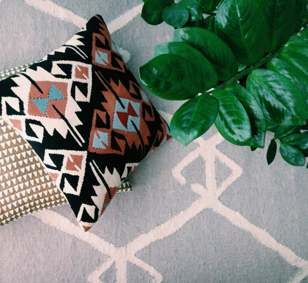 kilim pillow, christian rathbone, west elm rug