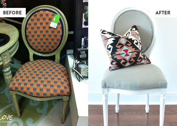 louis chair makeover, before and after