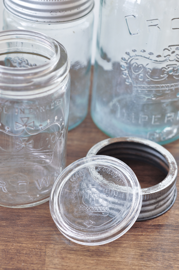 vintage crown mason jars