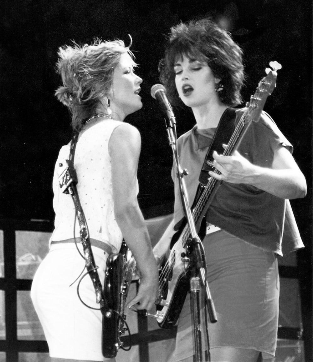 With Kathy Valentine in at Rock in Rio, 1985