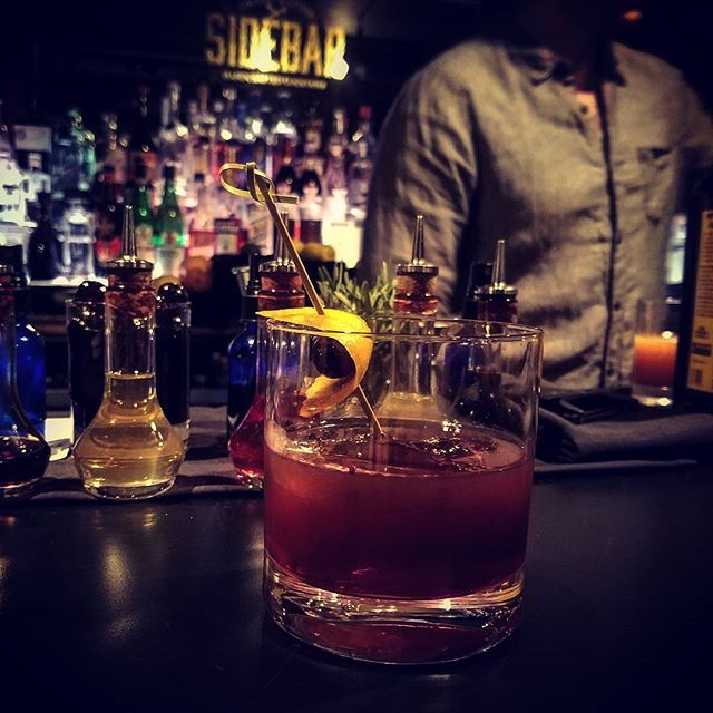 Kick off this spooky weekend at #Sidebar with our BooOOoolevardier. House Michigan tart cherry infused scotch, Fernet dogma, and Dopo Teatro vermouth amaro. Bittersweet and blood red it's like trick or treating all grown up.  #Spooky #Boulevardier #halloween #cocktails #dopoteatro #usbggr #grandrapids