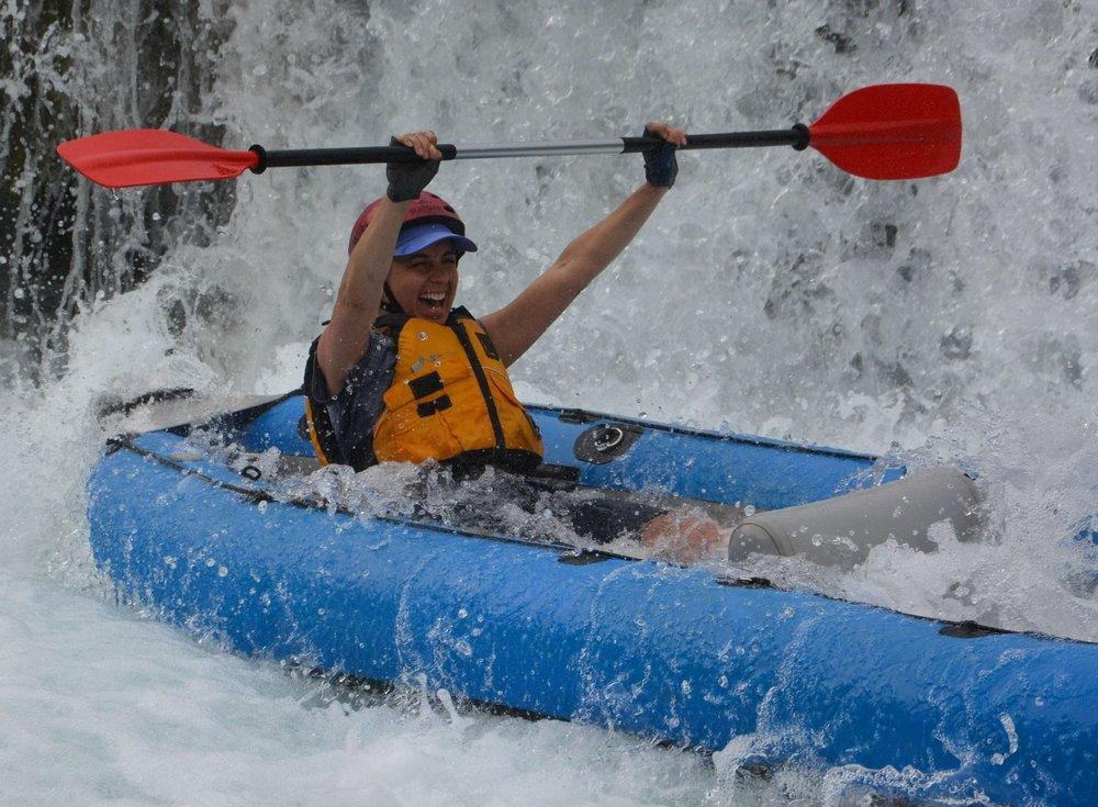Kayaking down waterfalls on the Zrmnja River in Croatia