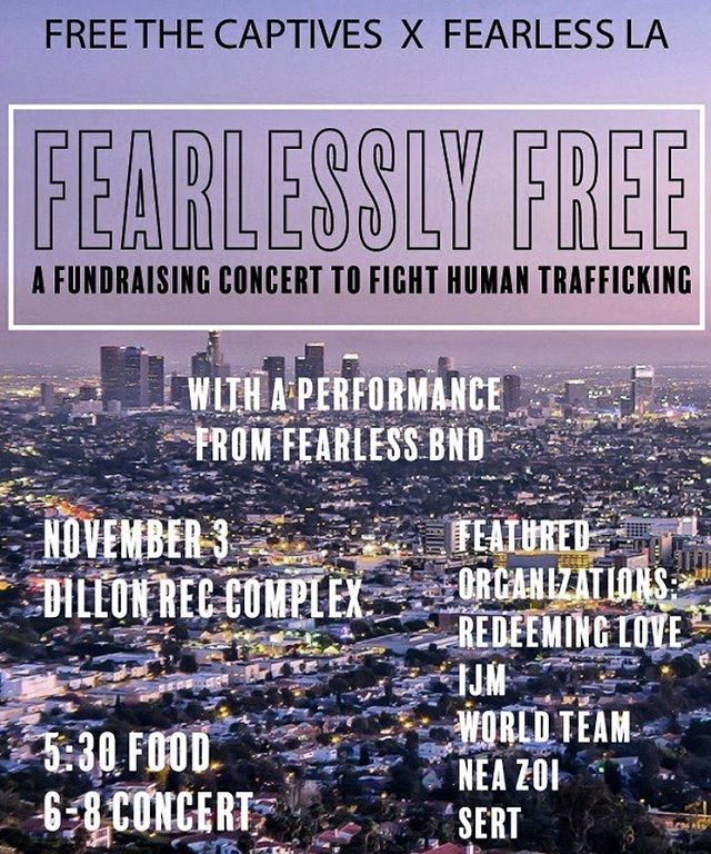 • TOMORROW NIGHT • come jam out, eat great food, and meet with @apufreethecaptives and more organizations to support the fight against human trafficking! We'll see you at DRC!
