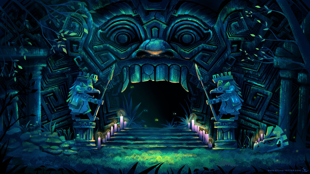 Ancient Ruins Temple Entrance Concept Art