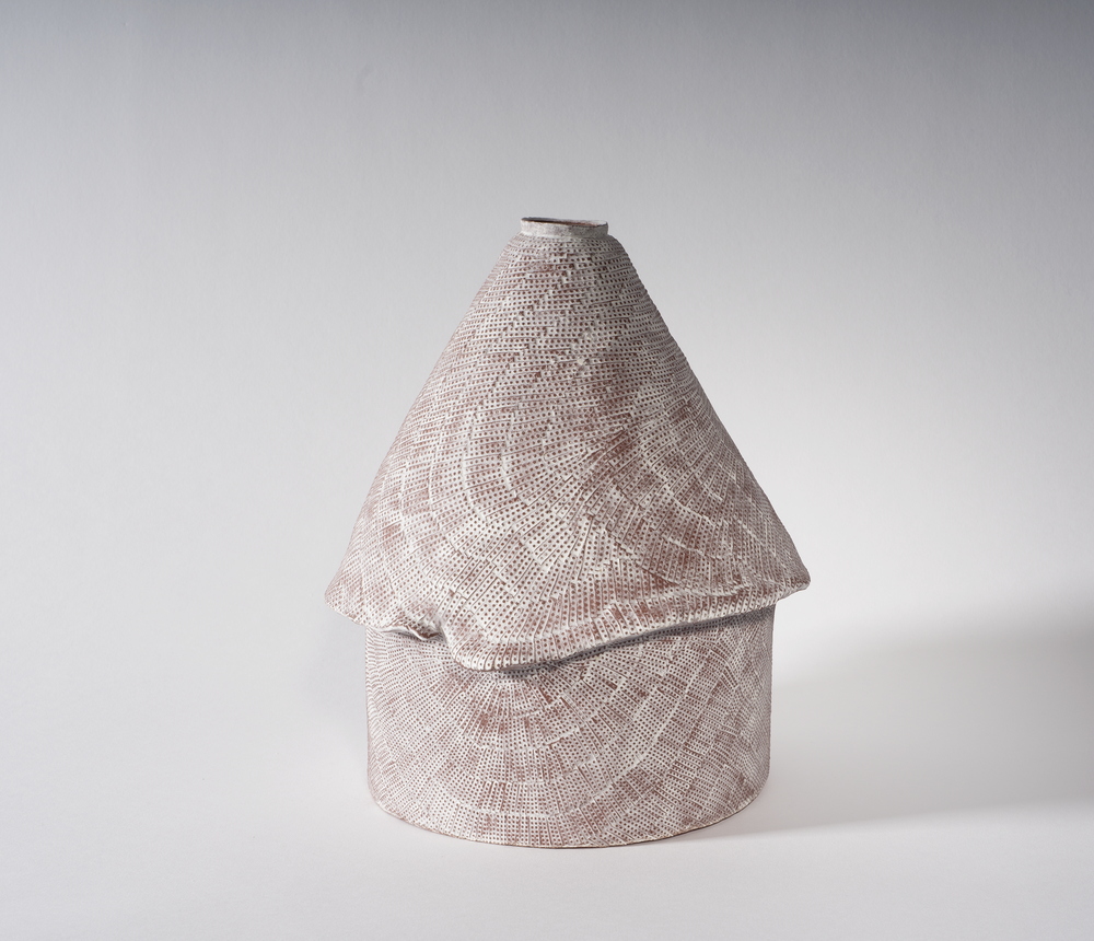 Untitled 4a   Engobe on stoneware  6.75 x 6.75 x 9 inches