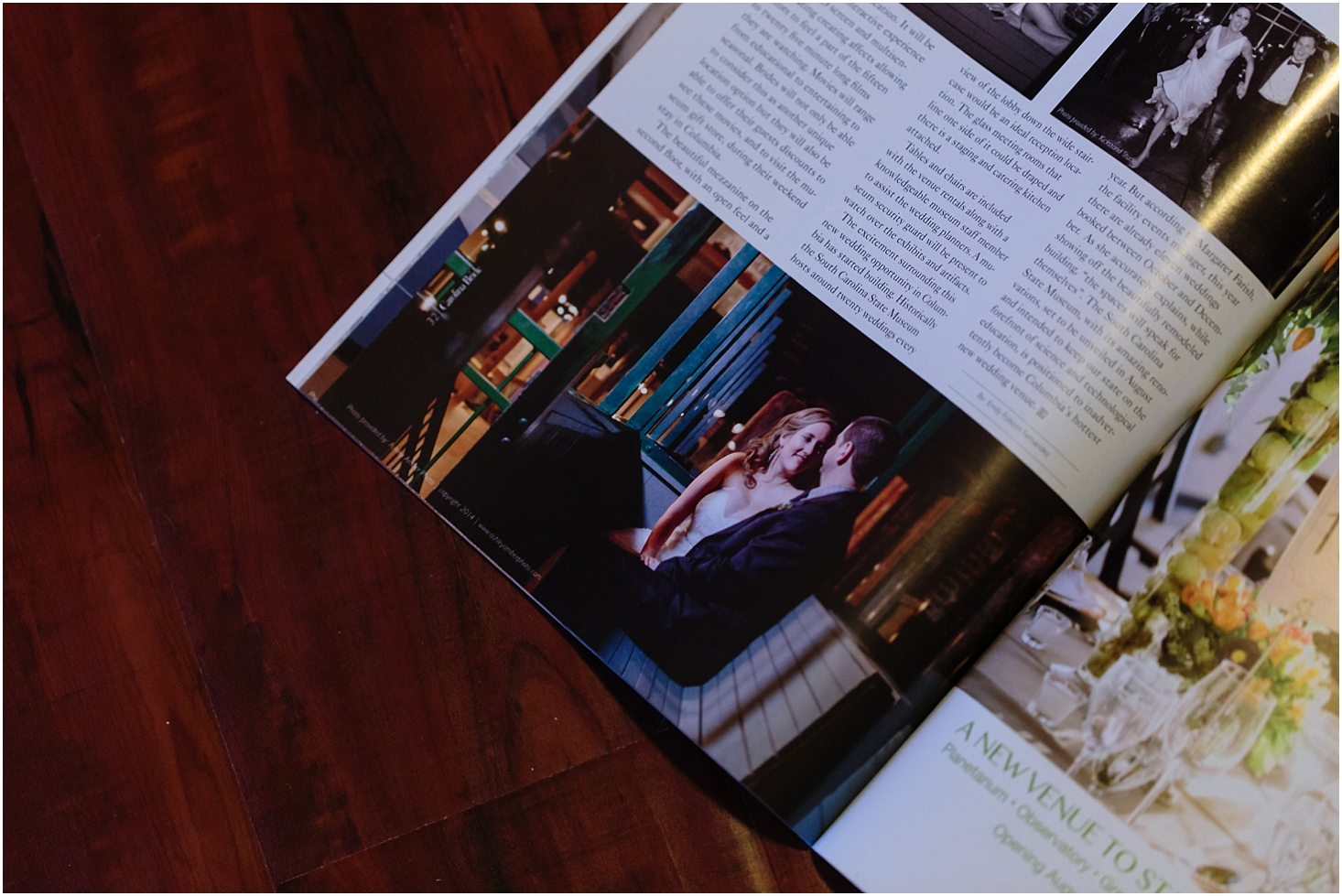 Carolina Bride magazine  publishes Ashley Amber Photo's Columbia Museum Wedding