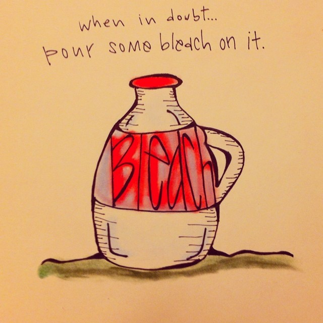 "Page 4 of the #khakishorts #nzkw mini book: ""When in doubt, pour some bleach on it."""