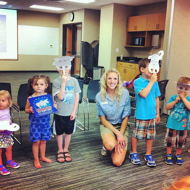 Library visit in Washington, MO with Bubbles masks!