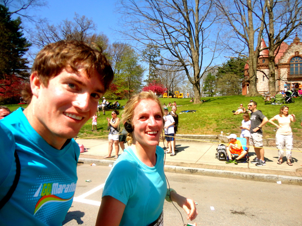 John and I running through last year's Boston race.