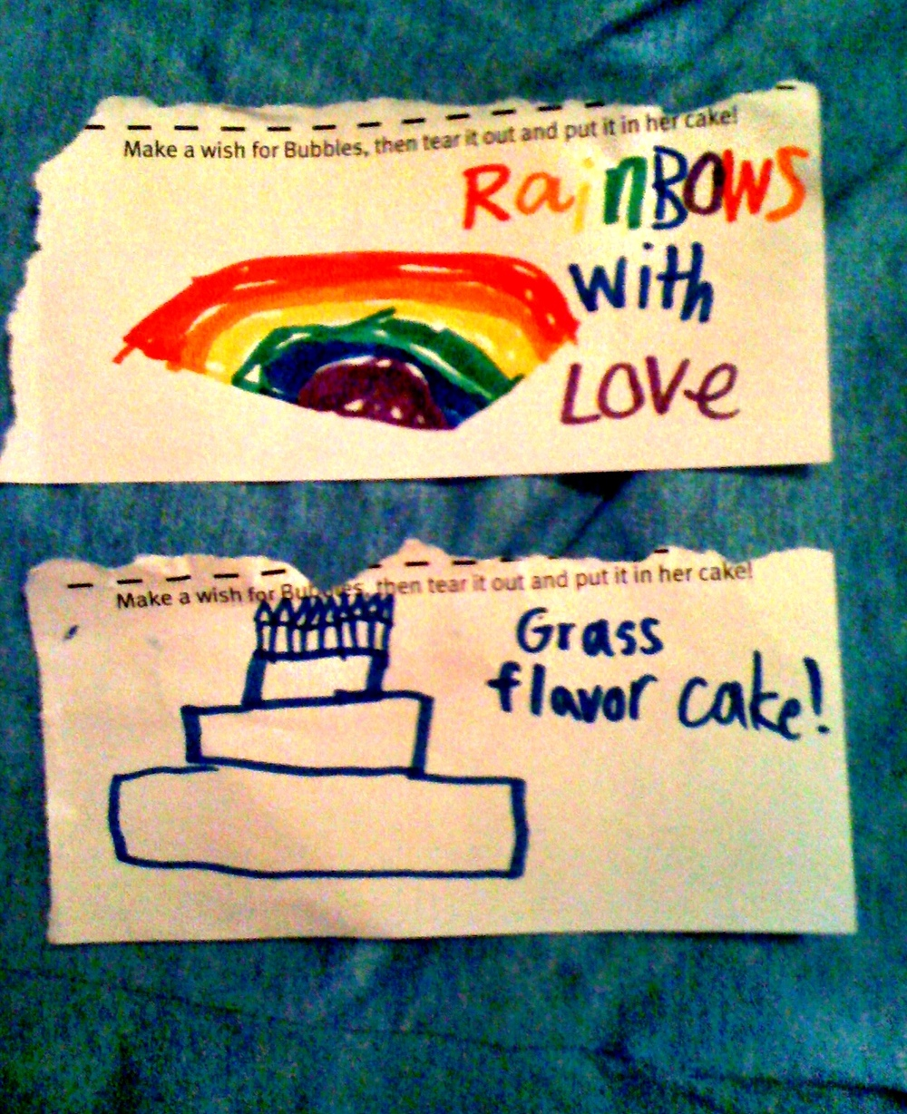"A few present themed wishes for the birthday girl… ""Rainbows with love"" and ""Grass flavored cake"" Sounds good to me."