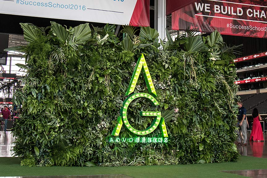 Temporary Freestanding Living Wall With Step And Repeat Backside For Event  At ATu0026amp;T Stadium
