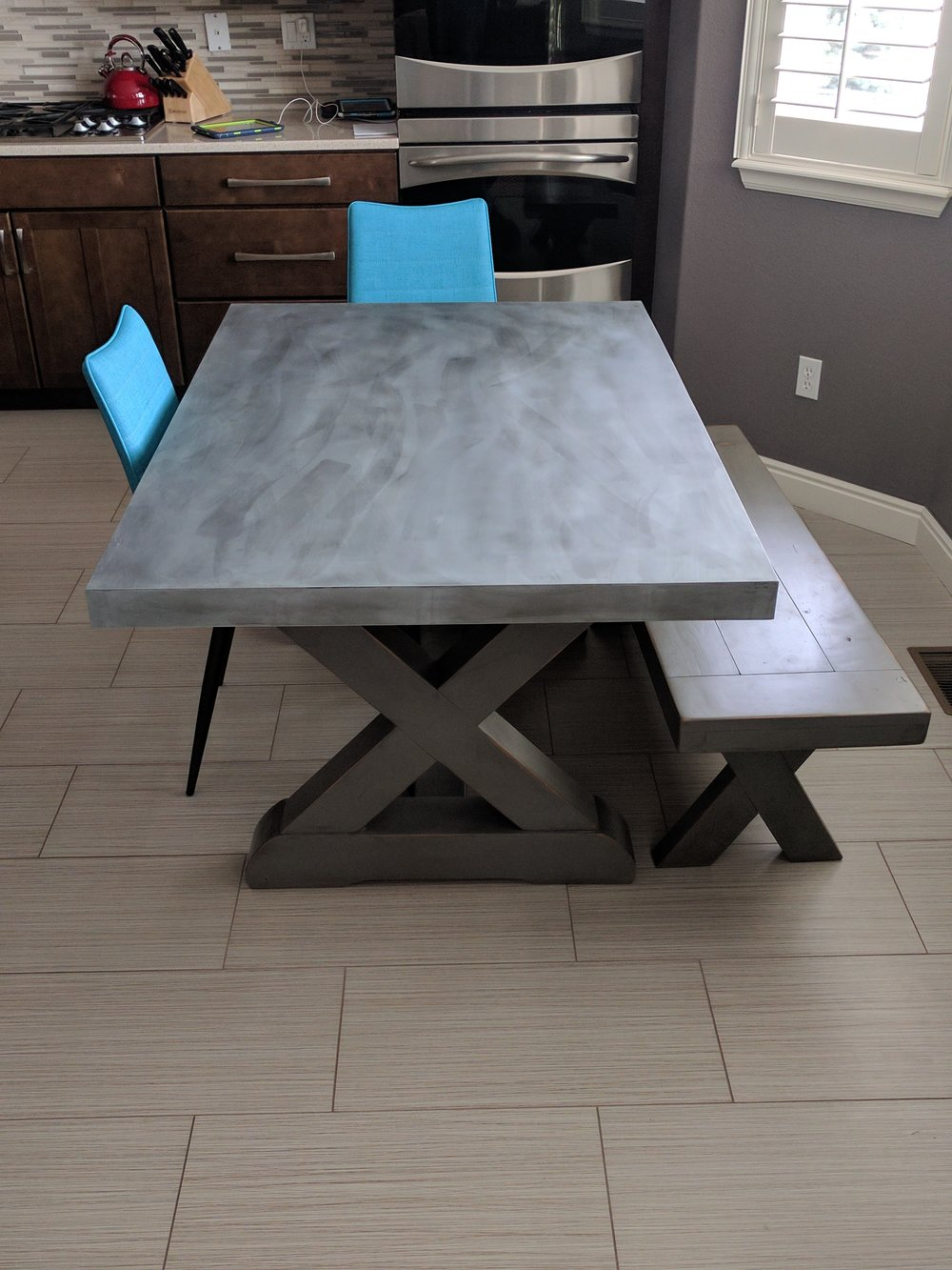 Top: Zinc with brush patina; Base and bench: Slate Gray