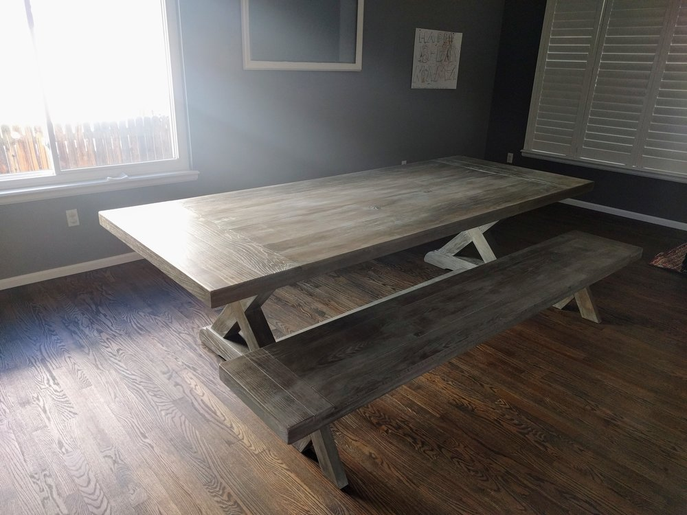 Table and bench: Driftwood Oak