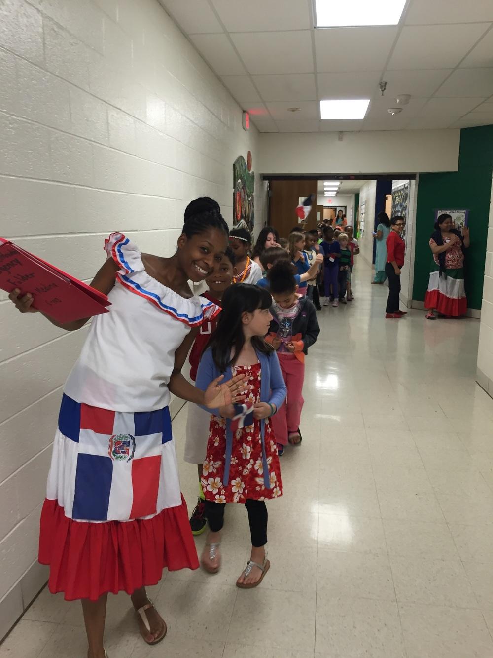 Srta. Medina and her class parading through the school.