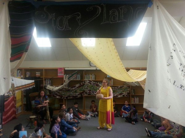 The Media Center was converted into a magical storyland for students to hear stories from many different countries.