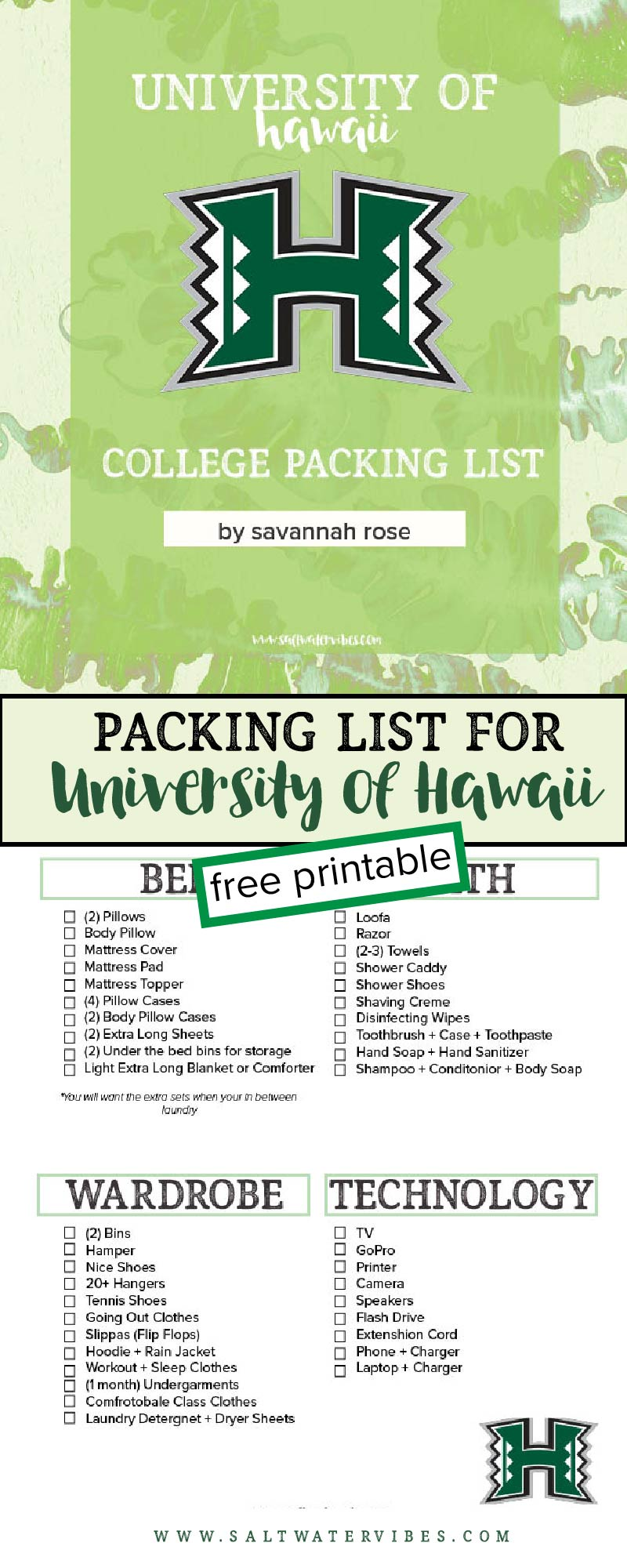 Everything You Need to Know About University of Hawaii at Manoa + Free Printable College Packing Checking List + SaltWaterVibes