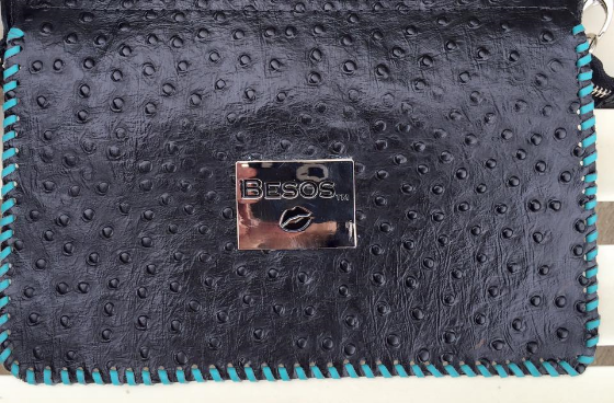Black Italian leather embossed in Ostrich
