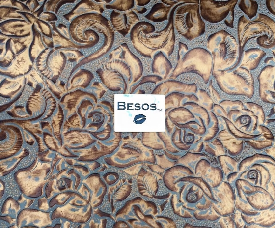 Copper Italian leather embossed in floral